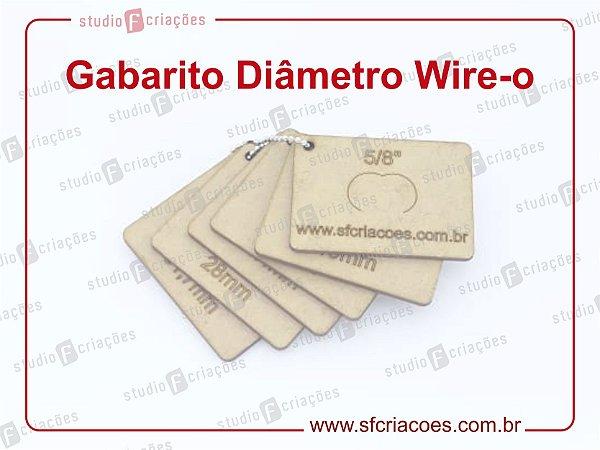Gabarito Diametro Wire-o - MDF para identificação de wire-o 2x1