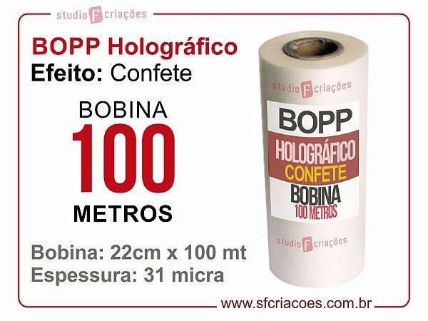Bobina BOPP Holografico Confete 22cm x 100 metros