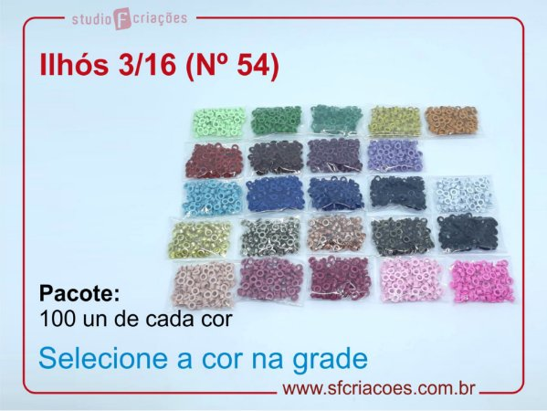 01 pct c/ 100 Ilhos n 54 (3/16 polegadas)