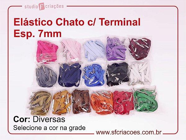 01 pct c/ 10un - Elástico Chato com terminal - Cores