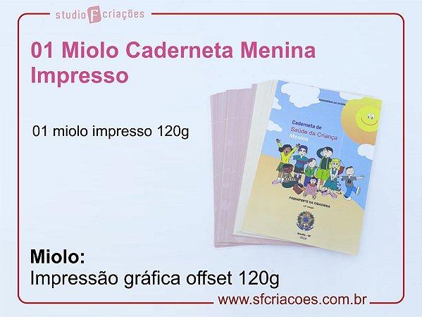 Insumo Caderneta - SOMENTE MIOLO IMPRESSO