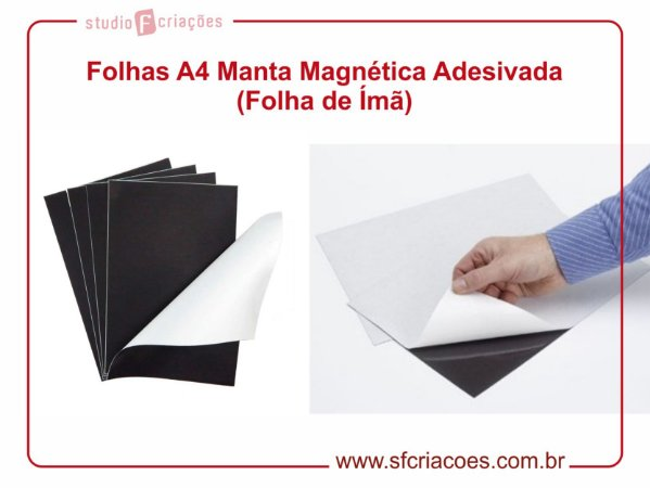 Folha A4 de Manta Magnética Adesivada (Folha de Ímã)