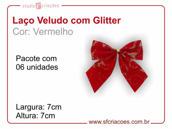 01 pct c/ 06 Laços Vermelho de Veludo com Glitter (largura de 7cm)
