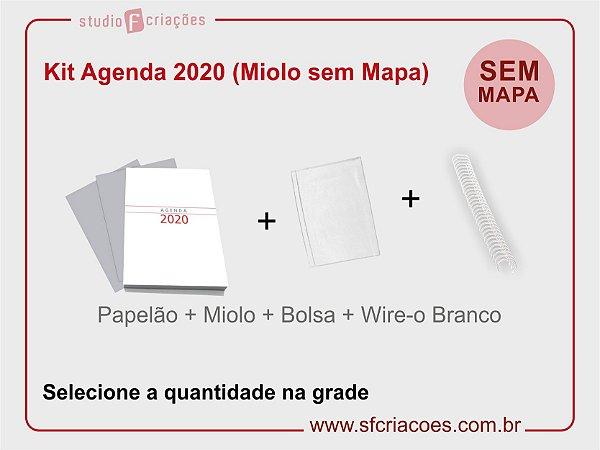 """Kit Agenda Executiva 2020 SEM MAPA (miolo + papelão + bolsa canguru + wire-o 2x1 1"""")"""