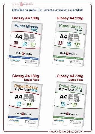 Papel Fotográfico Glossy - Selecione o tipo / tamanho / gramatura / quantidade