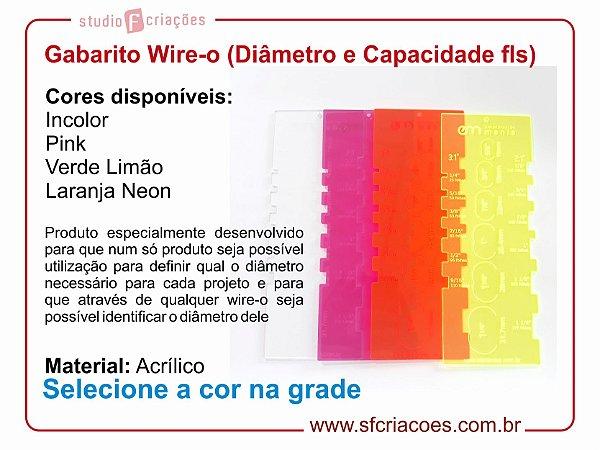 Régua Gabarito Wire-o - Diâmetro e Capacidade de folhas