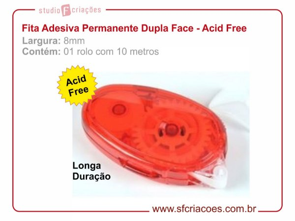Fita Adesiva Permanente Dupla Face 8mm - Acid Free