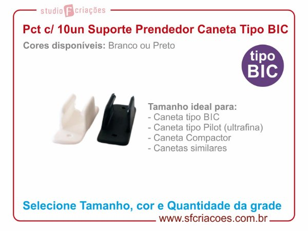 Pct c/ 10un Suporte Prendedor Tipo BIC