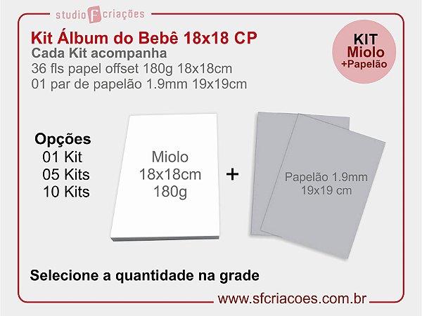 Kit Livro ou Album do Bebe CP - 18x18cm