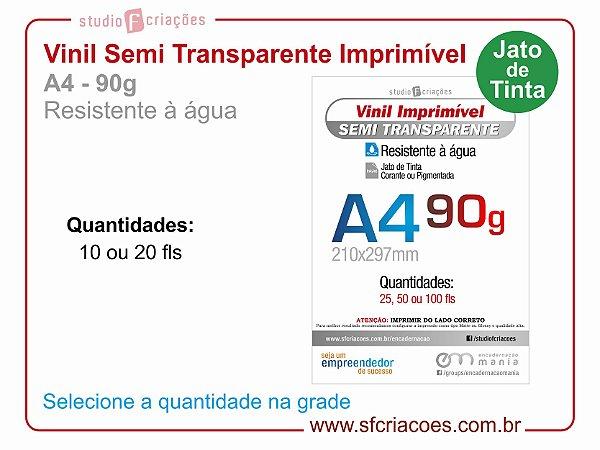 Vinil Imprimível SEMI TRANSPARENTE - A4 -90g (JATO DE TINTA)