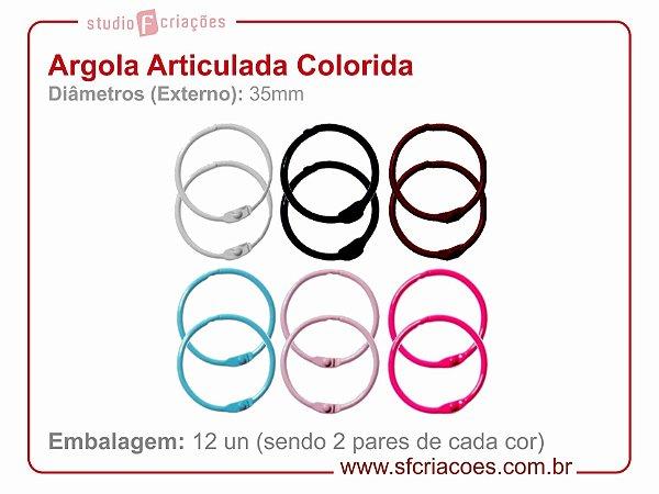 Argola Articulada 06 cores c/ 01 par de cada cor