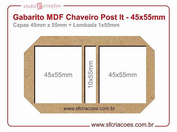 Gabarito MDF Chaveiro Post It - 45x55mm