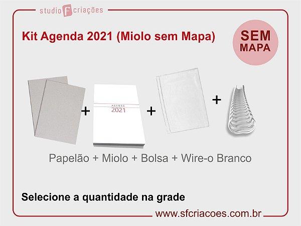 """Kit Agenda Executiva 2021 SEM MAPA (miolo + papelão + bolsa canguru + wire-o 2x1 1"""")"""