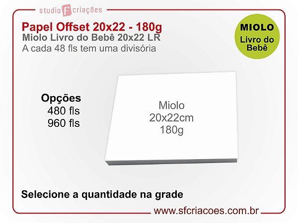 Papel Offset 20x22 (Livro do Bebe) 180g - Selecione a quantidade na grade