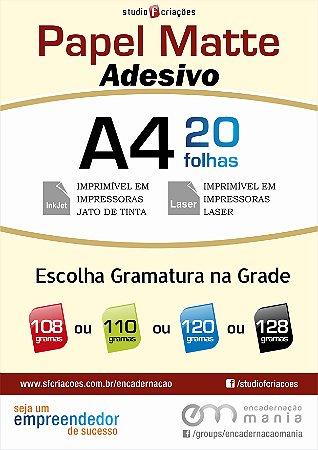 Papel fotográfico A4 - Matte Adesivo - Pacote com 20 fls - (Selecione gramatura e quantidade na grade)