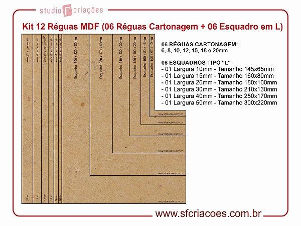 Kit 12 Réguas MDF (06 Reguas Cartonagem + 06 Esquadro em L)