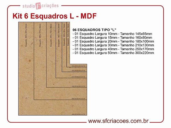Kit 6 Esquadros L - MDF