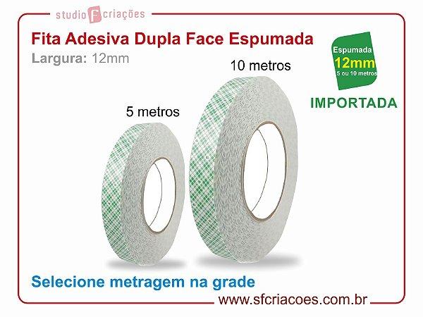 Fita Adesiva Dupla Face ESPUMADA - Largura 12mm c/ 5 ou 10 metros