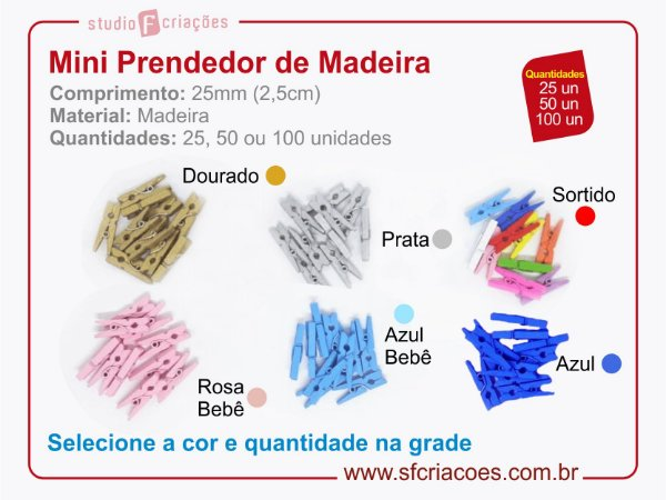 Mini Prendedor de Madeira 25mm