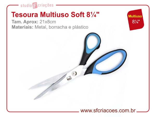 Tesoura Multiuso Soft 8 1/4""