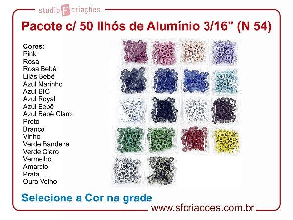 """Pacote c/ 50 Ilhós de Alumínio 3/16"""" (Nº 54)"""