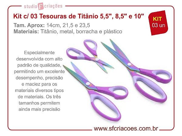 """Kit com 03 Tesouras de Titânio 5,5"""", 8,5"""" e 10"""""""