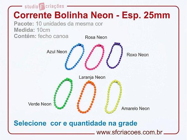 01 pct c/ 10un - Corrente bolinha - Neon Color