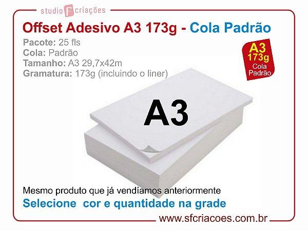Pct 25 fls papel offset adesivo - tamanho A3