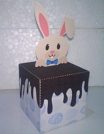 Caixa chocolate derretido coelho