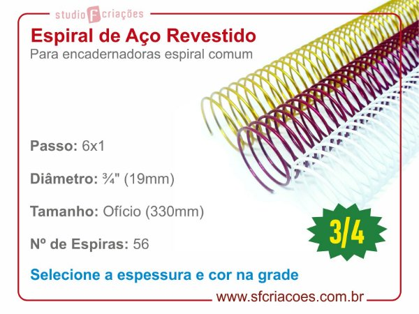 """Espiral de Aço Revestido 19mm (3/4"""") - Passo 6x1"""