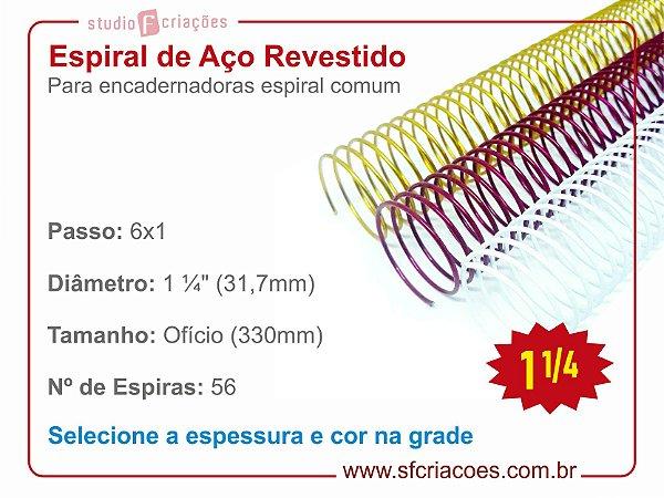"""Espiral de Aço Revestido 31,7mm (1 1/4"""") - Passo 6x1"""