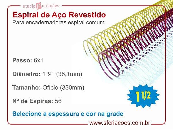 """Espiral de Aço Revestido 38,1mm (1 1/2"""") - Passo 6x1"""