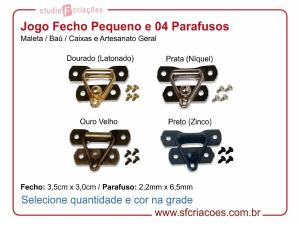 Jogo Fecho Pequeno c/ 04 Parafusos