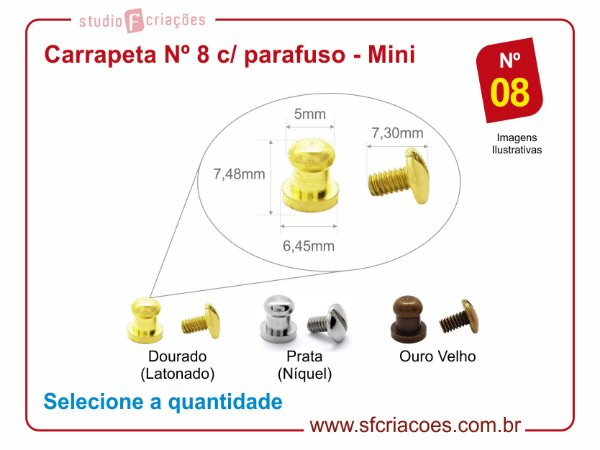 Fecho puxador carrapeta Nº 8 c/ parafuso - pacote c/ 05 unidades