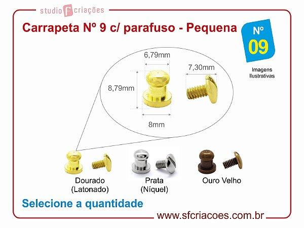 Fecho puxador carrapeta Nº 9 c/ parafuso - pacote c/ 05 unidades