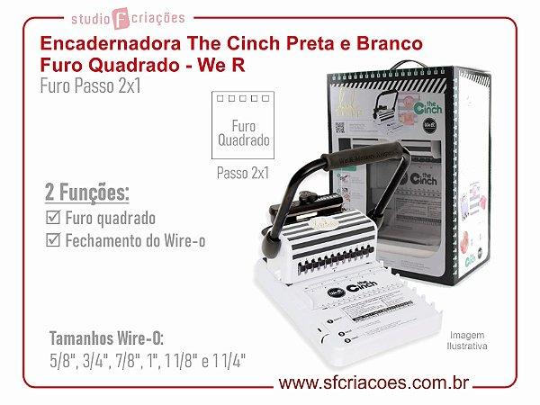 Encadernadora The Cinch Preta e Branco - Furo Quadrado - We R