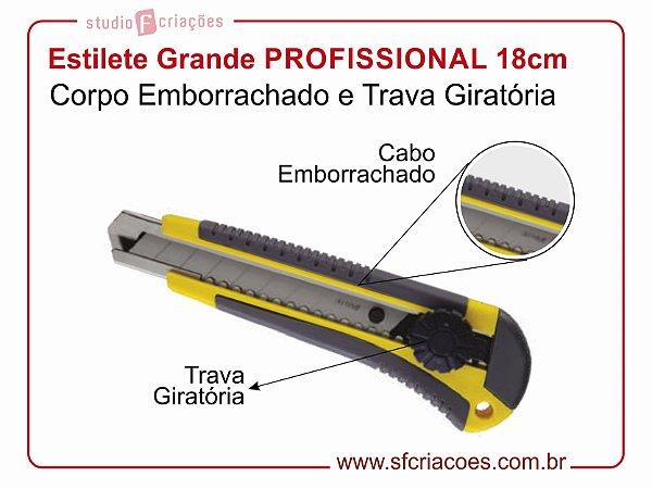 Estilete Grande PROFISSIONAL 18cm - Cabo Emborrachado e Trava Giratória