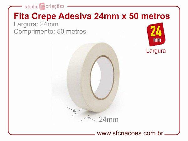Fita Crepe Adesiva - Largura 24mm c/ 50 metros