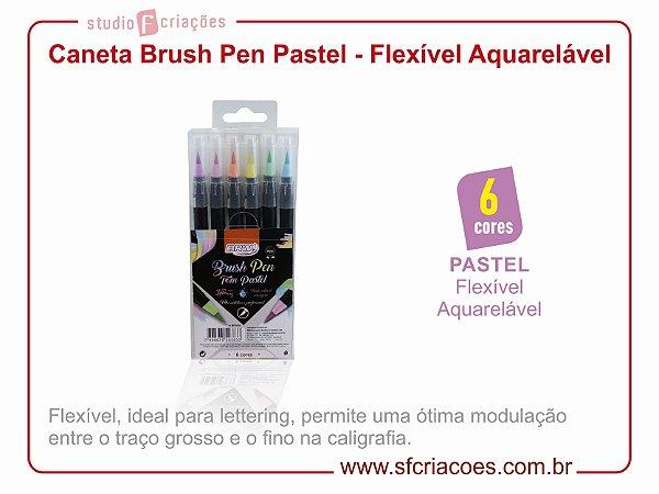 Caneta Brush Pen Aquarelável - Cores Pastéis