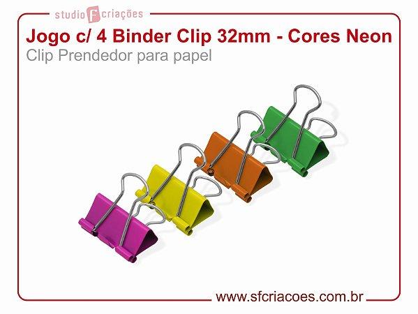 Jogo c/ 4 Binder Clip 32mm - Cores Neon (Clip Prendedor para papel)