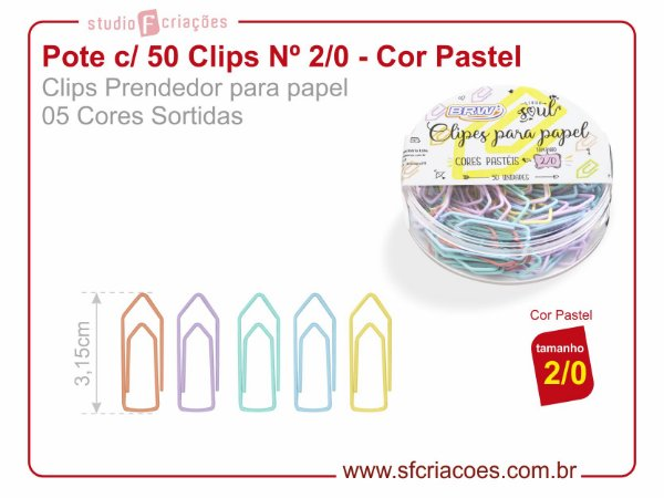 Pote c/ 50 Clips Nº 2/0 - Cores Pastel (5 cores sortidas)