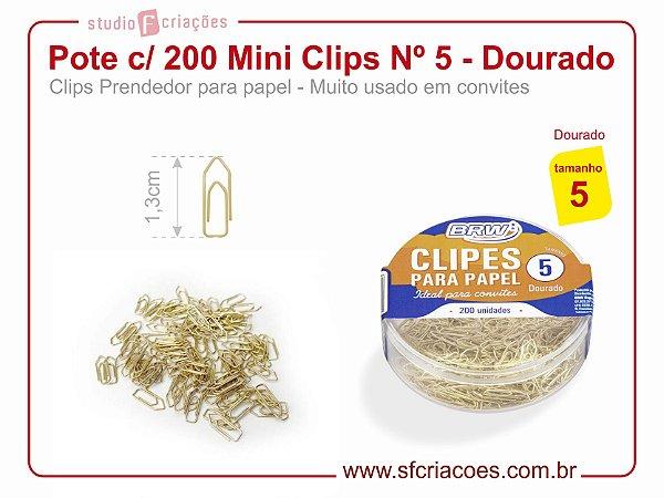 Pote c/ 200 Mini Clips Nº 5 - Dourado