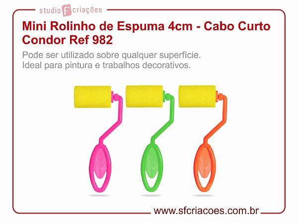 Mini Rolinho de Espuma 4cm - Cabo Curto Condor Ref 982