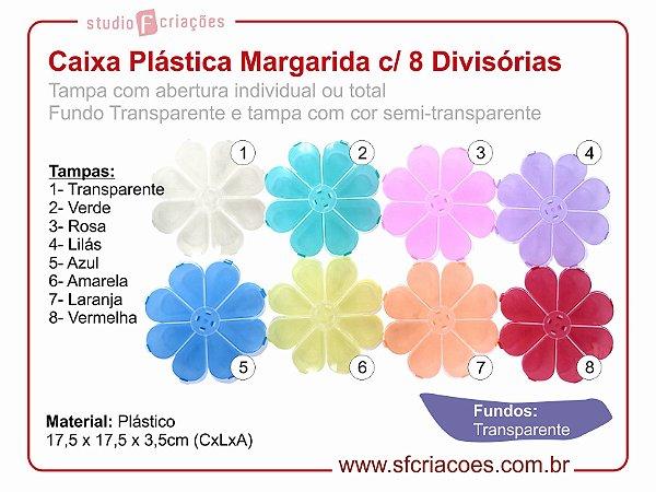 Caixa Plastica Organizador - Caixa Margarida c/ 8 Divisórias