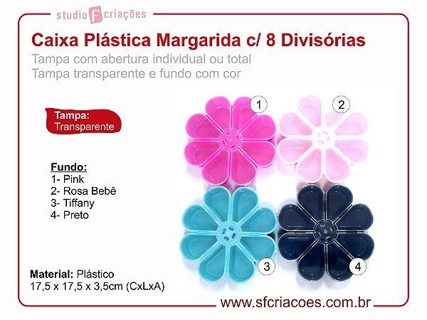 Caixa Plastica Organizador - Caixa Margarida c/ 8 Divisórias - Fundo com Cor