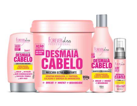 Kit Desmaia Cabelo Shampoo Máscara 950g Leave-in E Serum