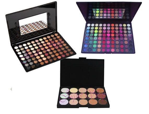 Combo Paletas de sombras opacas e cintilantes e paleta de corretivos facial com 15 cores