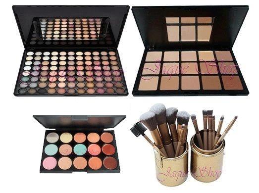Maquiagem Kit Paleta de Sombras + Paleta de Pó Compacto + Paleta de Corretivo + Kit Pincéis