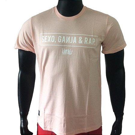 Camiseta Chronic Sexo Ganja e Rap - Rosa Bebê