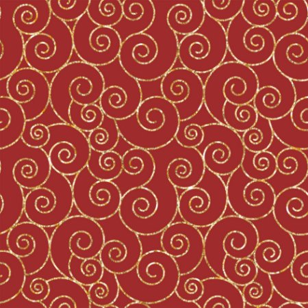Tecido Tricoline 100% algodão Natal - Estampa Caracol Vermelho e Dourado - Ref 0,50 metro - Peripan